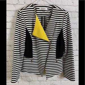 Tahari Black & White Stripe Moto Jacket Sz 8